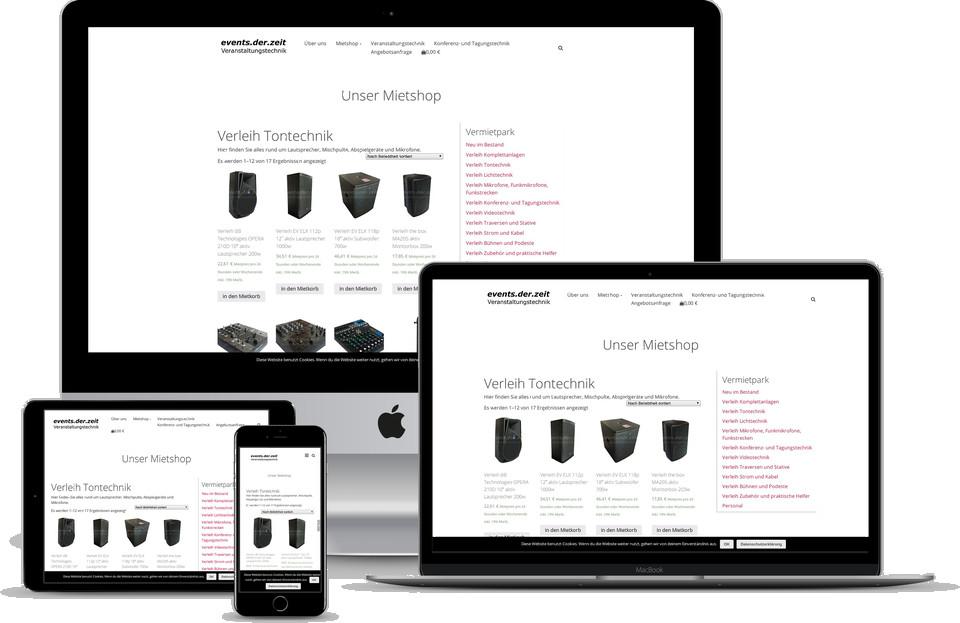 Webdesign Projekt Mietshop Vermietung