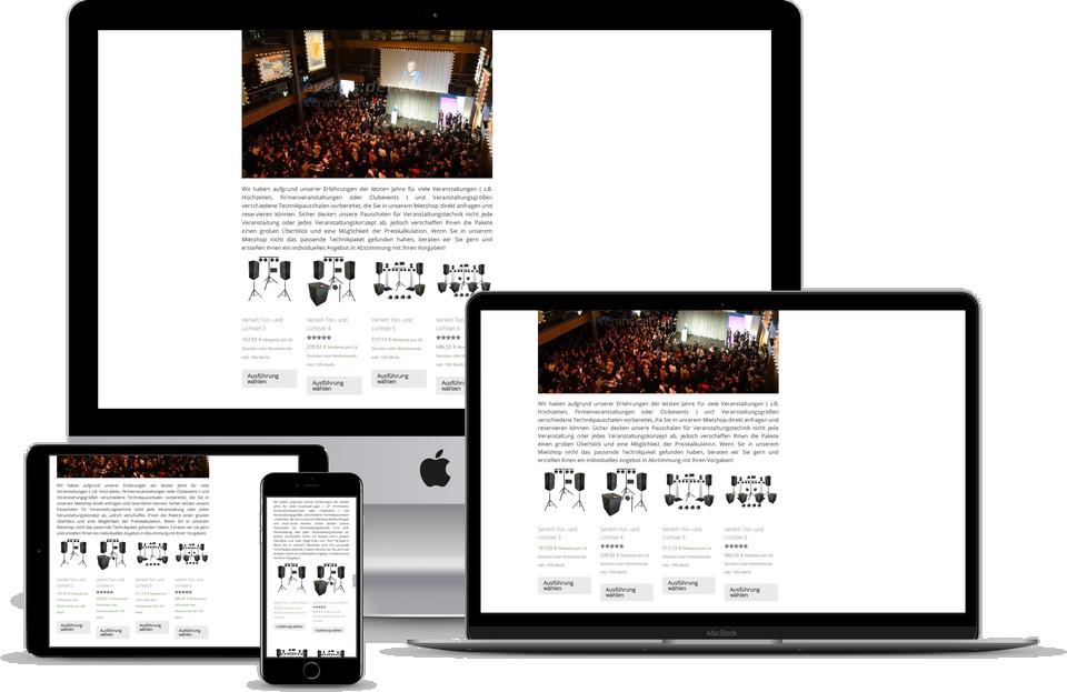 Webdesign Projekt Onlineshop Verleih