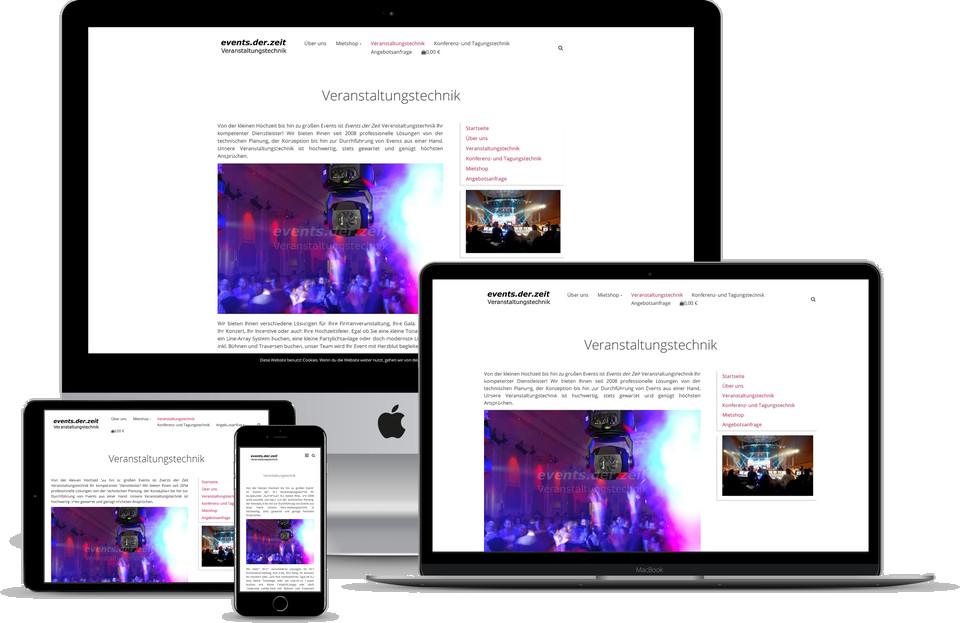 Webdesign Projekt Webshop Verleih Vermietung Veranstaltungstechnik